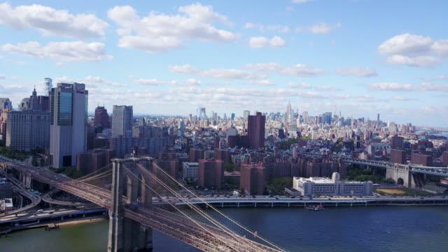 new york city skyline, aerial - new york città video stock e b–roll