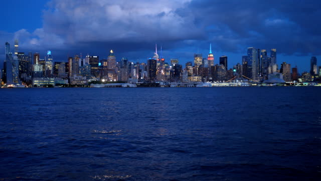 new york city skyline: downtown waterfront - waterfront stock videos & royalty-free footage