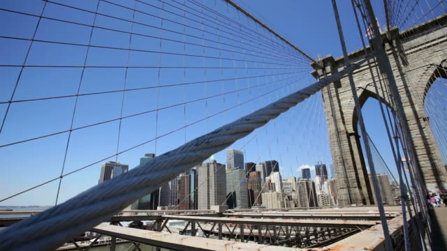 DS New York City skyline from the Brooklyn Bridge / New York, New York, USA