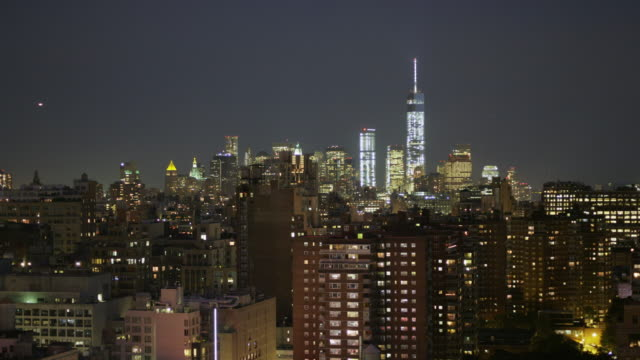 New York City Skyline looking south with Freedom tower at night