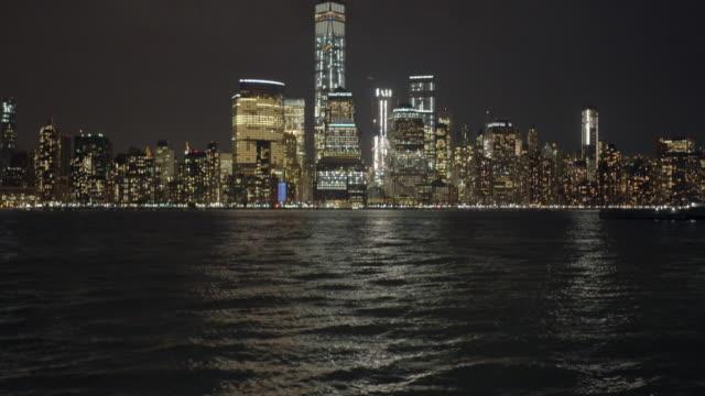 new york city skyline metropolis panorama at night. urban landmark scenery background