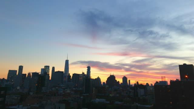 new york city skyline night sunset view - midtown manhattan stock videos & royalty-free footage