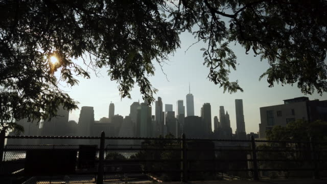 new york city skyline sunset view from brooklyn heights - high contrast stock videos & royalty-free footage
