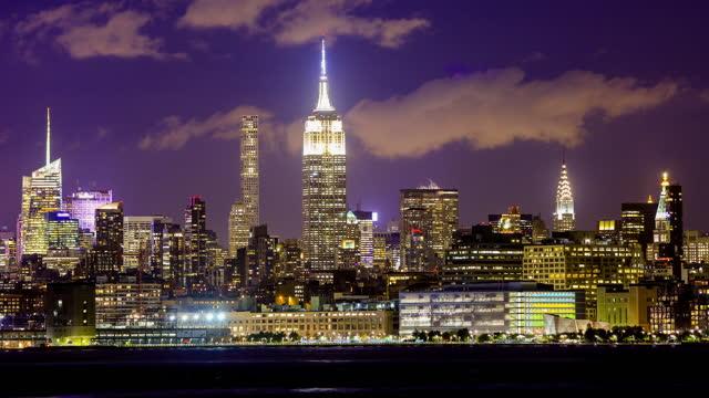 new york city: skyline - manhattan new york city stock videos & royalty-free footage