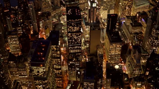 new york city skyline view at night. urban metropolis cityscape background