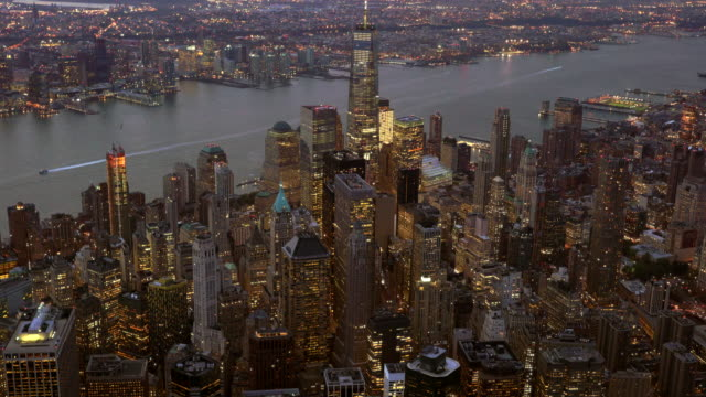 new york city skyline view. urban metropolis cityscape background - マンハッタン点の映像素材/bロール