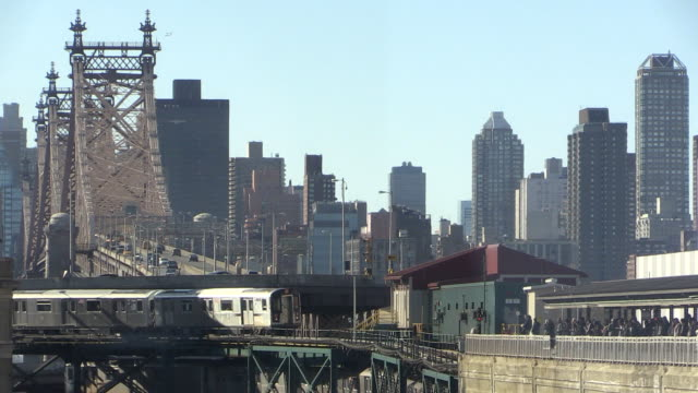 New York City Skyline With Subway Arrival Into Queens