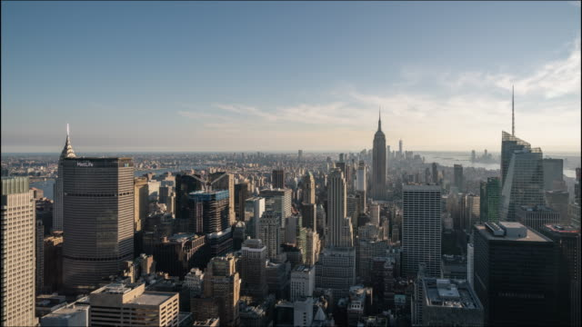 t/l  new york city skyline with urban skyscrapers - manhattan stock videos & royalty-free footage