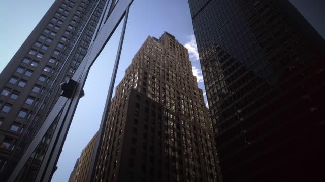 new york city skyscrapers office buildings near wall street - mar stock videos & royalty-free footage
