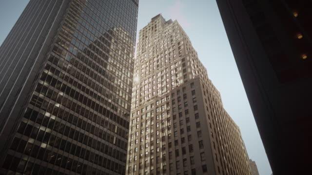 new york city skyscrapers office buildings near wall street - mar点の映像素材/bロール