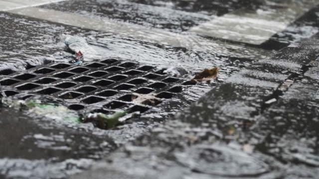 new york city storm drain - slow motion 240 fps - rinnsteinkante stock-videos und b-roll-filmmaterial