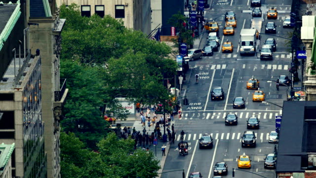 new york city streets: 5th ave - yellow taxi stock videos and b-roll footage