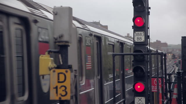 new york city subway train and railway signal - railway signal stock videos & royalty-free footage