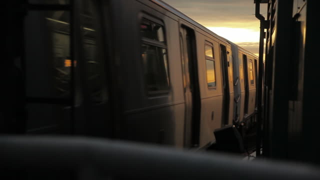 New York City Subway Train and Sunrise
