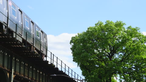 new york city subway trains run on the elevated railway track beside the big fresh green tree at queens ny usa on may 25 2019. - elevated train stock videos & royalty-free footage