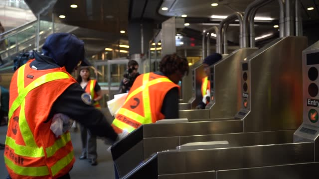 new york city subway workers clean train stations in an afford to stop the coronavirus spread of outbreak in new york, united states on march 11,... - dustman stock videos & royalty-free footage
