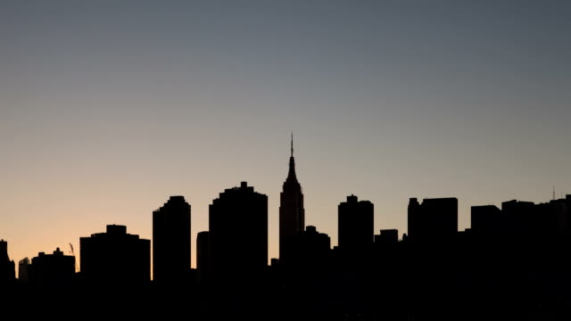 new york city sunset to night time lapse - clear sky stock videos & royalty-free footage