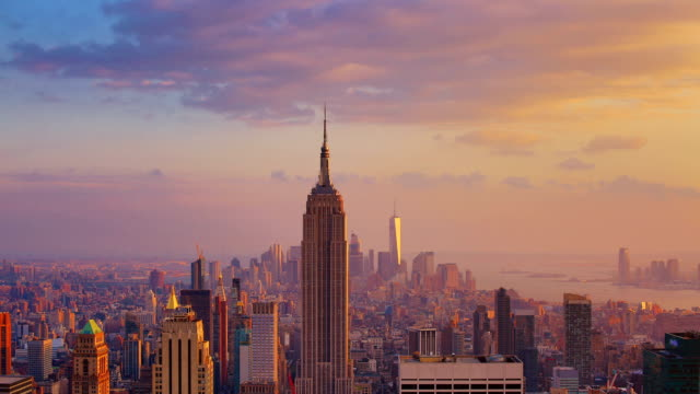 new york city: sunset (day to night) - empire state building video stock e b–roll