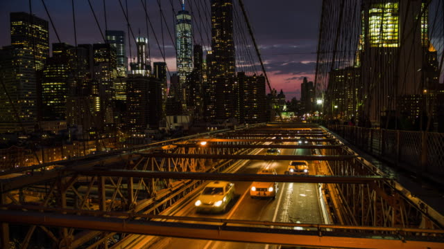 new york city - traffic on brooklyn bridge - brooklyn bridge stock videos & royalty-free footage