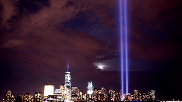 new york city tribute in lights full moon - september 11 2001 attacks stock videos and b-roll footage