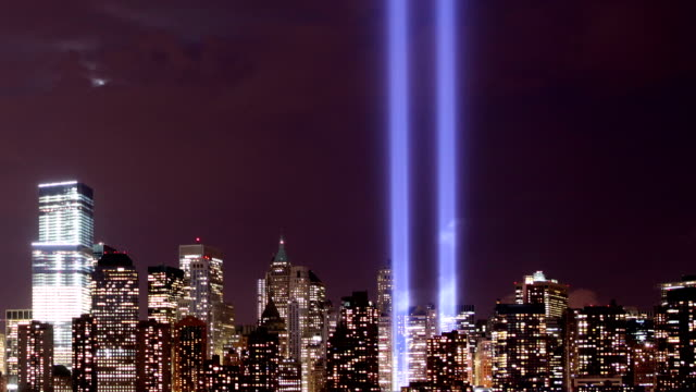 new york city tribute in lights - september 11 2001 attacks stock videos and b-roll footage