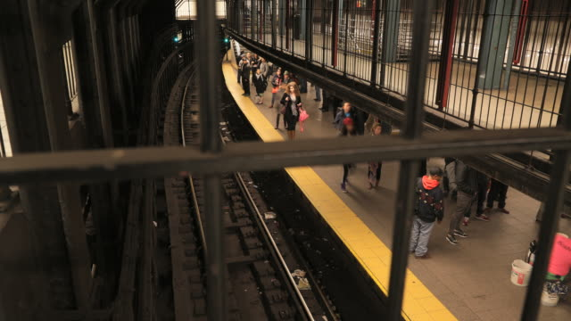 New York City Union Square subway station motion time lapse of commuters on platform, train never comes.