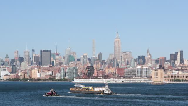 vídeos de stock, filmes e b-roll de new york city manhattan superior ao pôr do sol - rio hudson