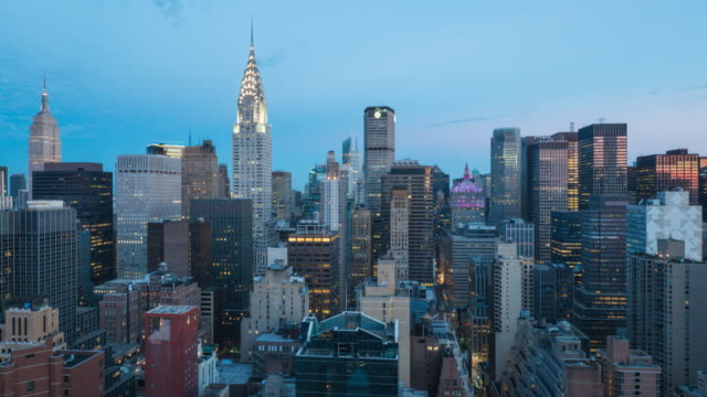 new york cityscape sunrise. - chrysler building stock videos & royalty-free footage