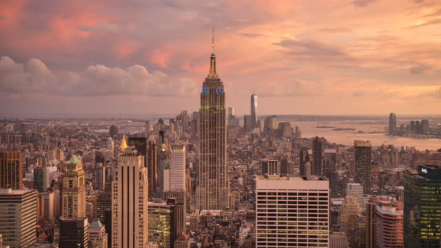 new york cityscape, sunset time lapse. - world trade centre manhattan stock videos and b-roll footage