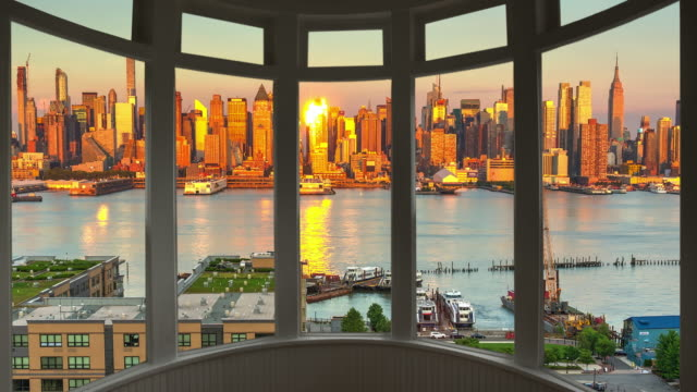 new york cityscape sunset time lapse window panorama cityscape manhattan - window frame stock videos and b-roll footage