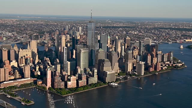 new york cityscapes, aerial view, in new york city, ny, u.s. on thursday, june 17, 2021. - new york city stock videos & royalty-free footage