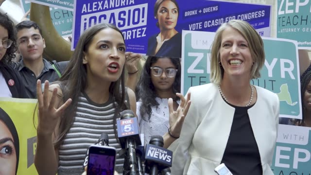 new york congressional candidate alexandria ocasio-cortez endorses ny attorney general canidate zephyr teachout on july 12, 2018 as they stood next... - socialism stock videos & royalty-free footage
