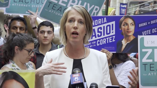 New York Congressional Candidate Alexandria OcasioCortez Endorses NY Attorney General Canidate Zephyr Teachout on July 12 2018 as they stood next to...