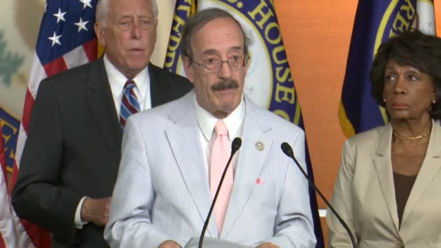 new york congressman eliot engel says at a press briefing on a bill to counter russian aggression after donald trump met with vladimir putin in... - scolding stock videos & royalty-free footage