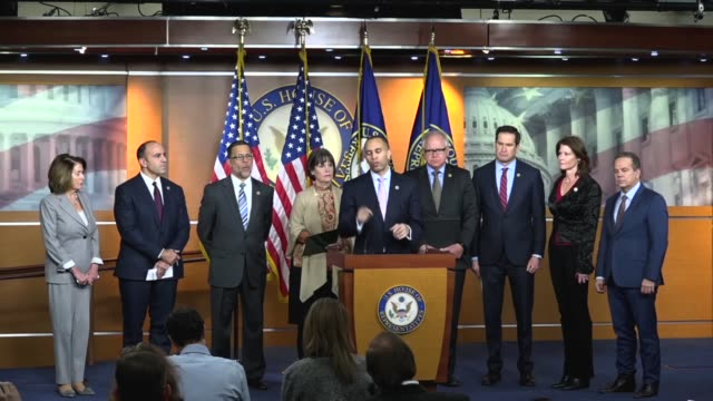 New York Congressman Hakeem Jeffries begins a news conference on the third day of the government shutdown with house Democrats thanking Nancy Pelosi...