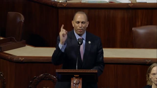 New York Congressman Hakeem Jeffries delivers a critique of President Donald Trump and his first annual message to Congress at a joint session the...