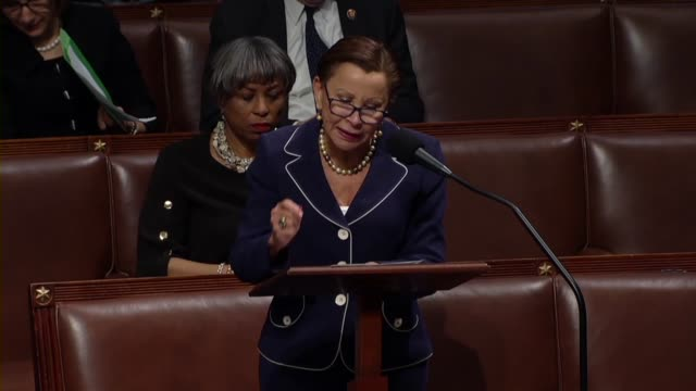 new york congresswoman nydia velazquez supports impeaching president donald trump because every member of the house faces the stark choice to turn a... - politische gruppe stock-videos und b-roll-filmmaterial