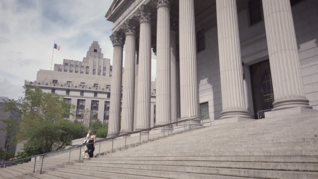 new york county supreme court building exterior stairs - courthouse stock videos & royalty-free footage