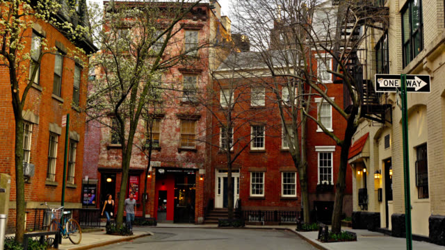 new york downtown. soho village. old-fashioned city street. old trees. - narrow stock videos & royalty-free footage