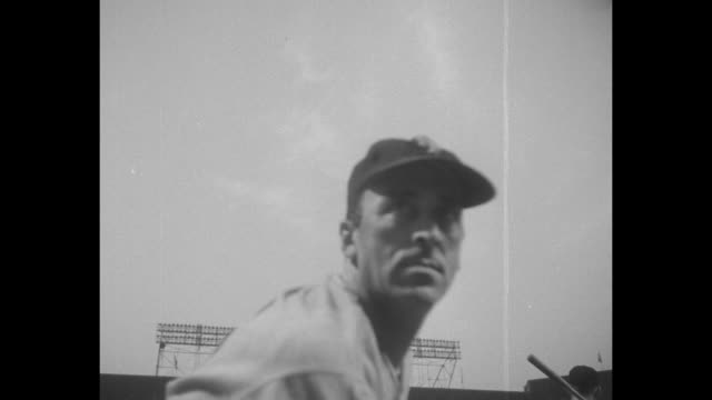 new york giants pitcher hoyt wilhelm warming up at to play the brooklyn dodgers at ebbets field in brooklyn / sal maglie pitching / outfielder willie... - ebbets field video stock e b–roll