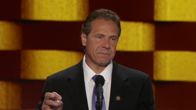 new york governor andrew cuomo tells convention delegates he looks to the essence of his father's 1984 message concluding at a time of fear that it... - andrew cuomo stock videos and b-roll footage