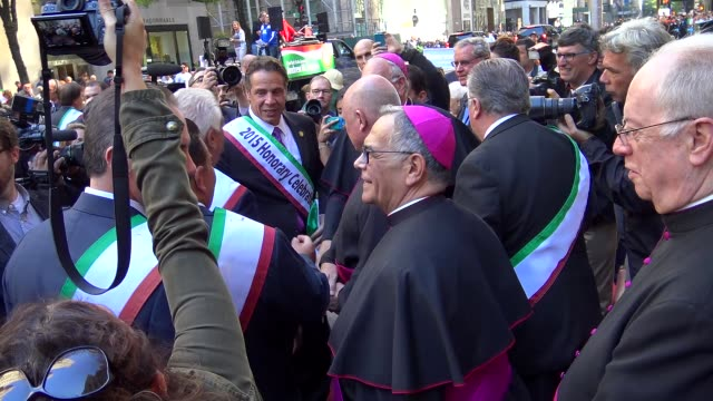 new york governor andrew mark cuomo greets st patrick's cathedral clergy during the annual columbus day parade via 5th avenue in manhattan new york... - andrew cuomo stock videos and b-roll footage