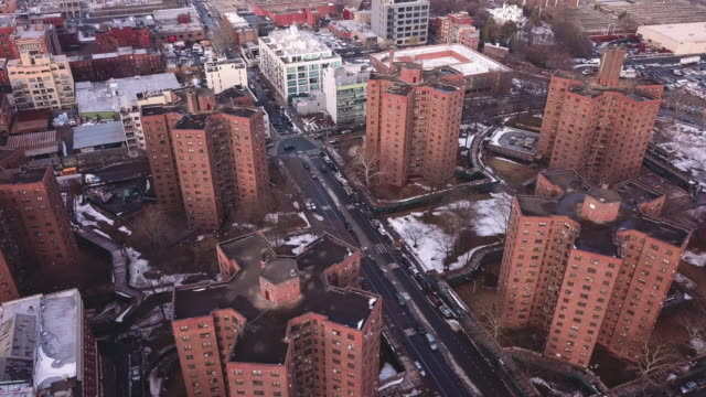 new york housing projects winter - slum stock-videos und b-roll-filmmaterial