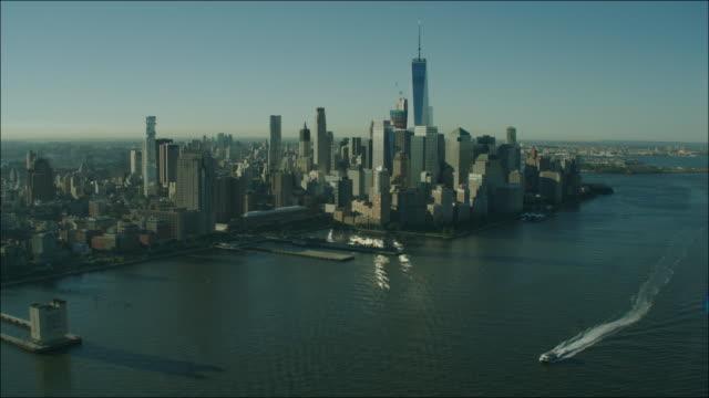 New York Manhattan 4k Aerial Flying over Hudson River Towards Freedom Tower