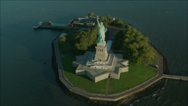 New York Manhattan 4k Aerial Statue of Liberty Circling