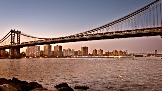 vídeos y material grabado en eventos de stock de nueva york, puente de manhattan - puente colgante