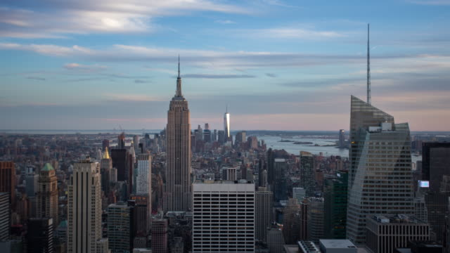 new york manhattan panorama - time lapse - rockefeller center video stock e b–roll