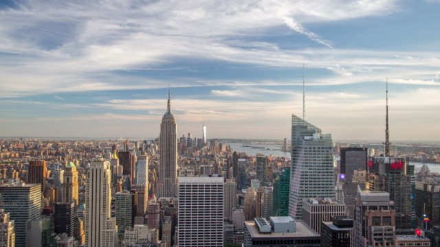 new york manhattan panorama - zeitraffer - new york stock-videos und b-roll-filmmaterial