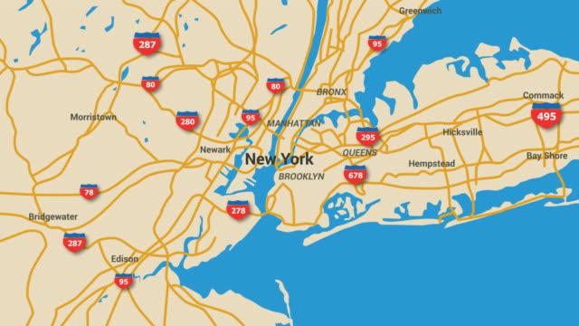 New York Map Animation 4K