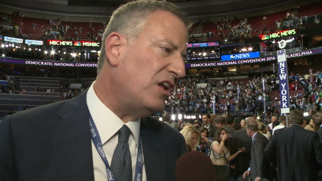 New York Mayor Bill de Blasio comments on why Donald Trump should not be President of the United States Democratic National Convention 2016 at Wells...